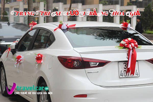 Trang trí xe cưới bằng hoa giả | Các mẫu hoa giả trang trí xe hoa