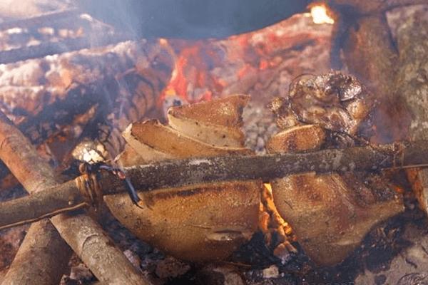 Lợn đen kẹp cây rừng nướng đặc sản