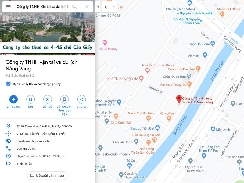 Bản đồ vị trí công ty TNHH vận tải và du lịch Nắng Vàng