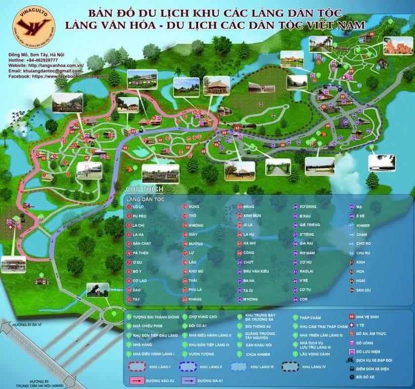 Bản đồ khu du lịch làng văn hóa các dân tộc Việt Nam