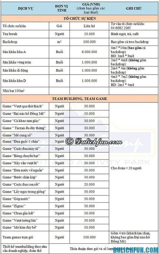 bảng giá dịch vụ tổ chức sự kiện, trò chơi team building