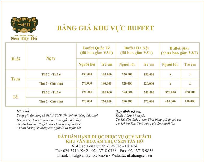 Bảng giá buffet Sen Tây Hồ 2019